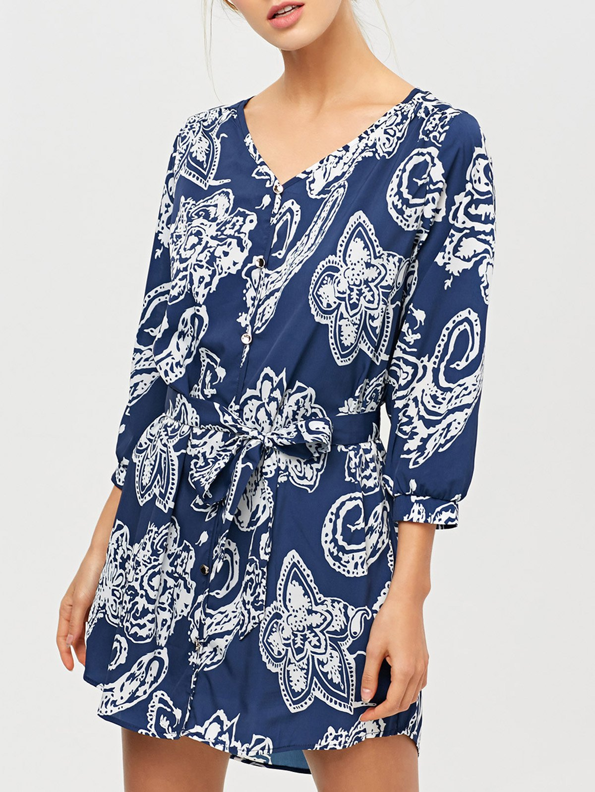 Vintage Printed Shirt DressClothes<br><br><br>Size: 2XL<br>Color: BLUE