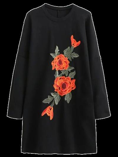 Floral Embroidered Long Sleeve Sweatshirt DressClothes<br><br><br>Size: S<br>Color: BLACK