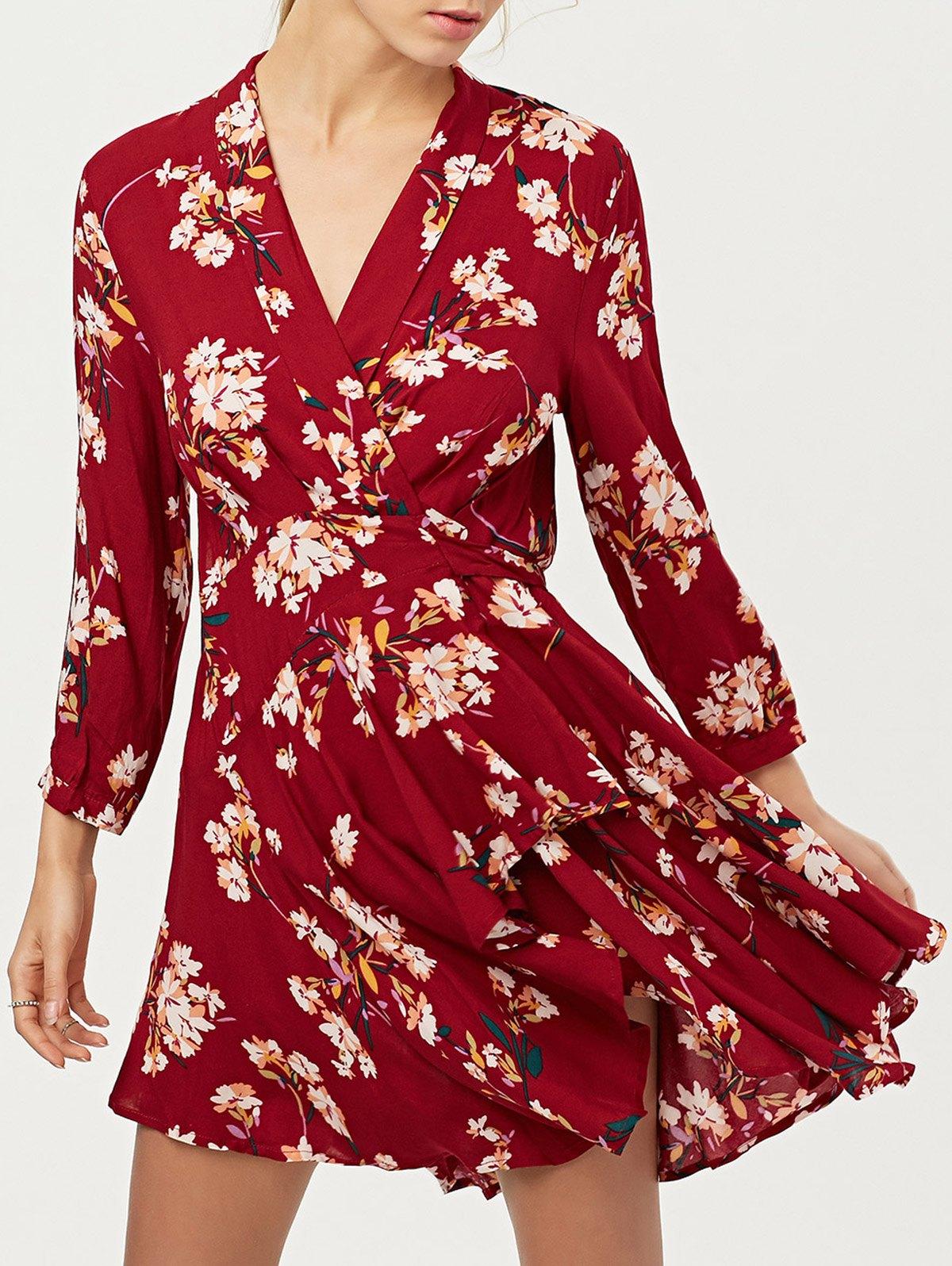 Long Sleeve Wrap Floral Asymmetric Dress