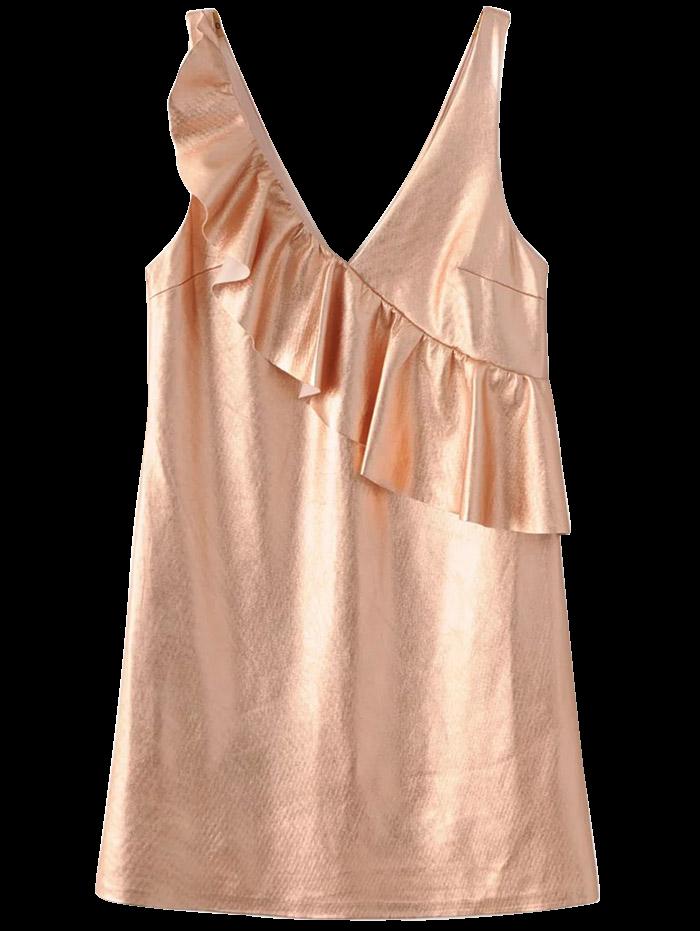 V Neck Flounced Mini Tank Dress