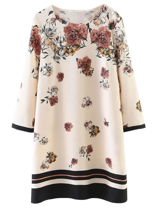 Round Neck Floral Pattern Shift Dress