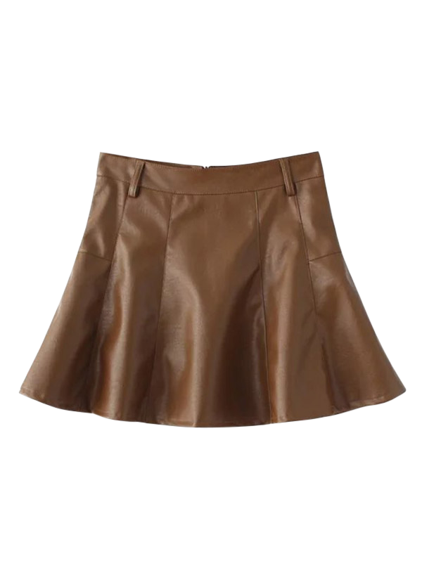 PU Leather A Line Mini Skirt