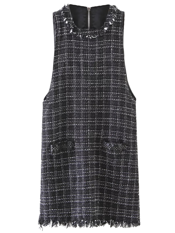 Sleeveless Frayed Hem Plaid Dress