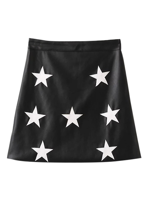 Star PU Leather A-Line Skirt