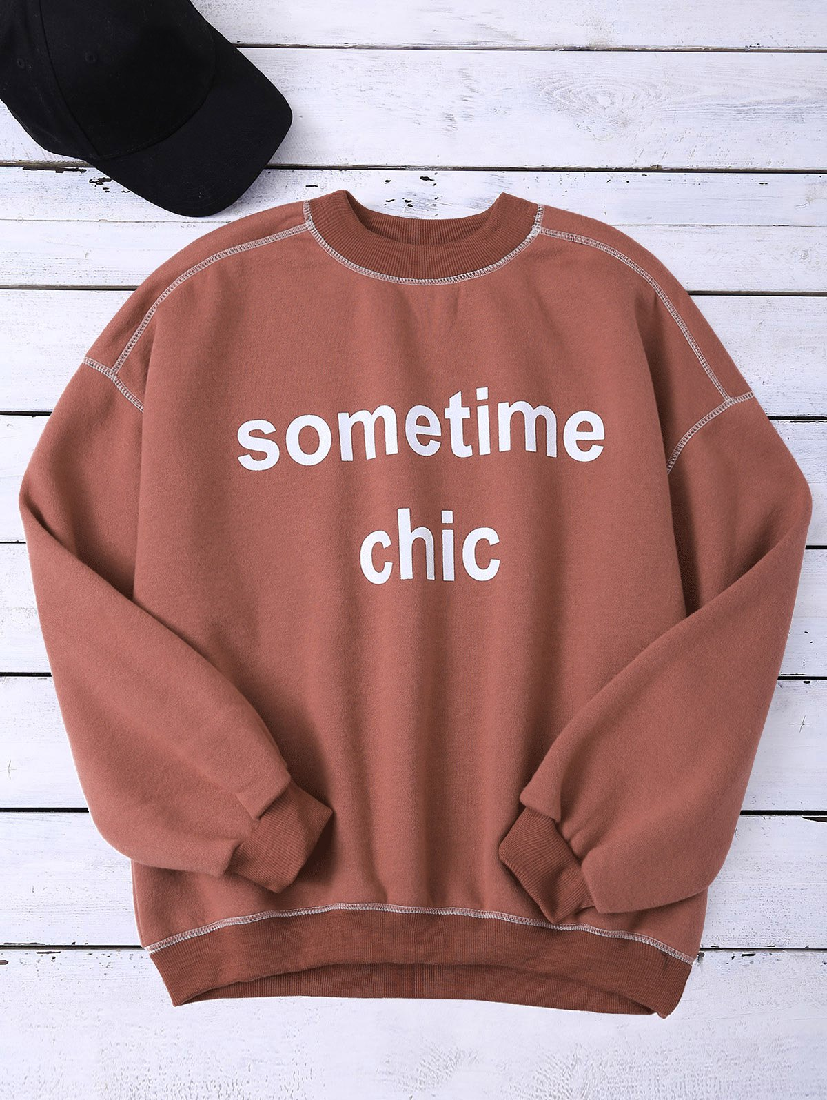 Mock Neck Letter Sweatshirt