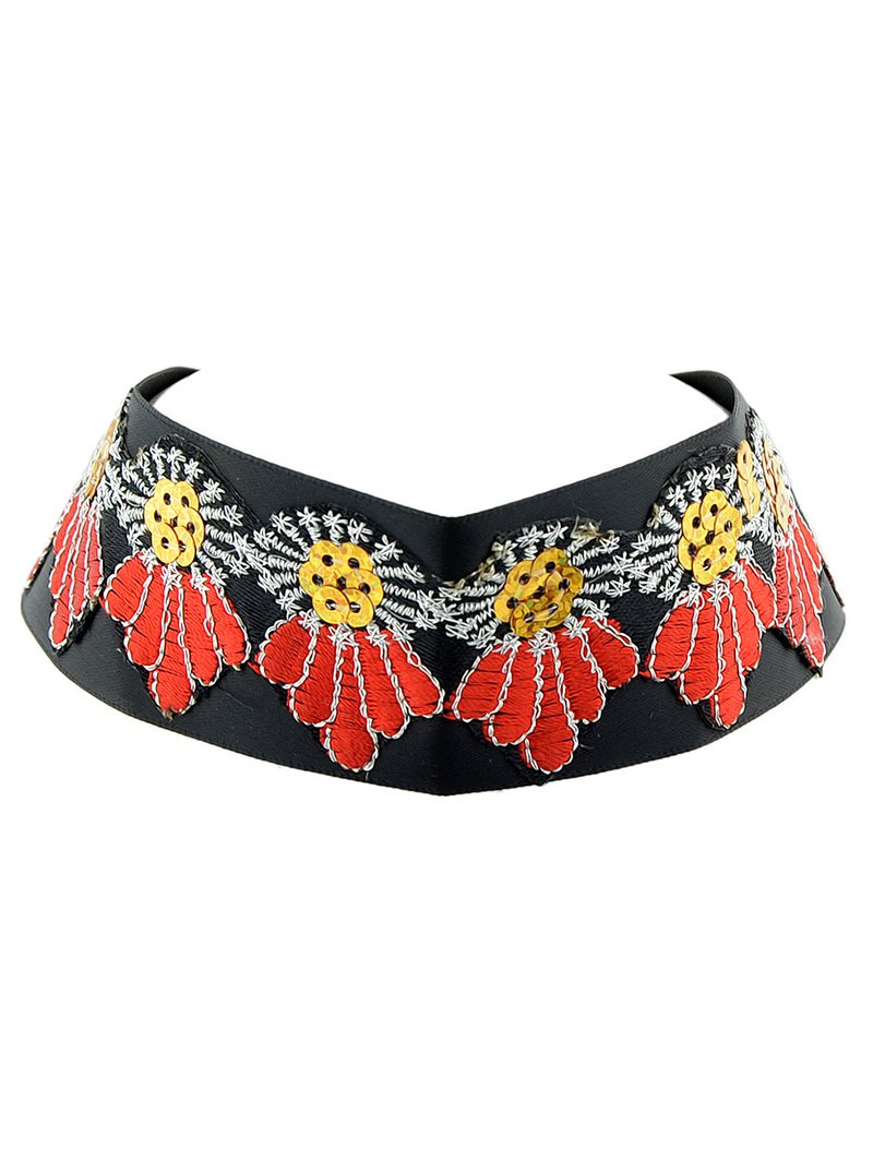 Sequins Embroidered Wide Choker Necklace