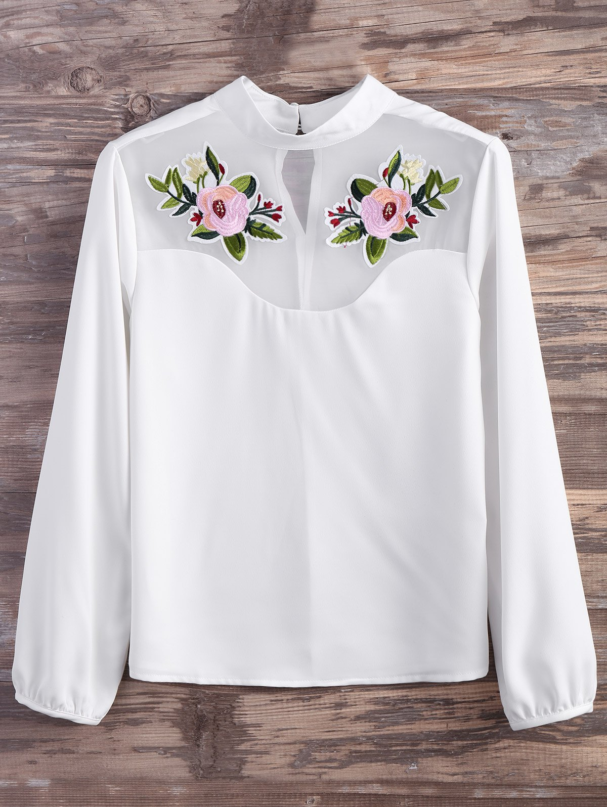 Floral Embroidered Mesh Panel Blouse