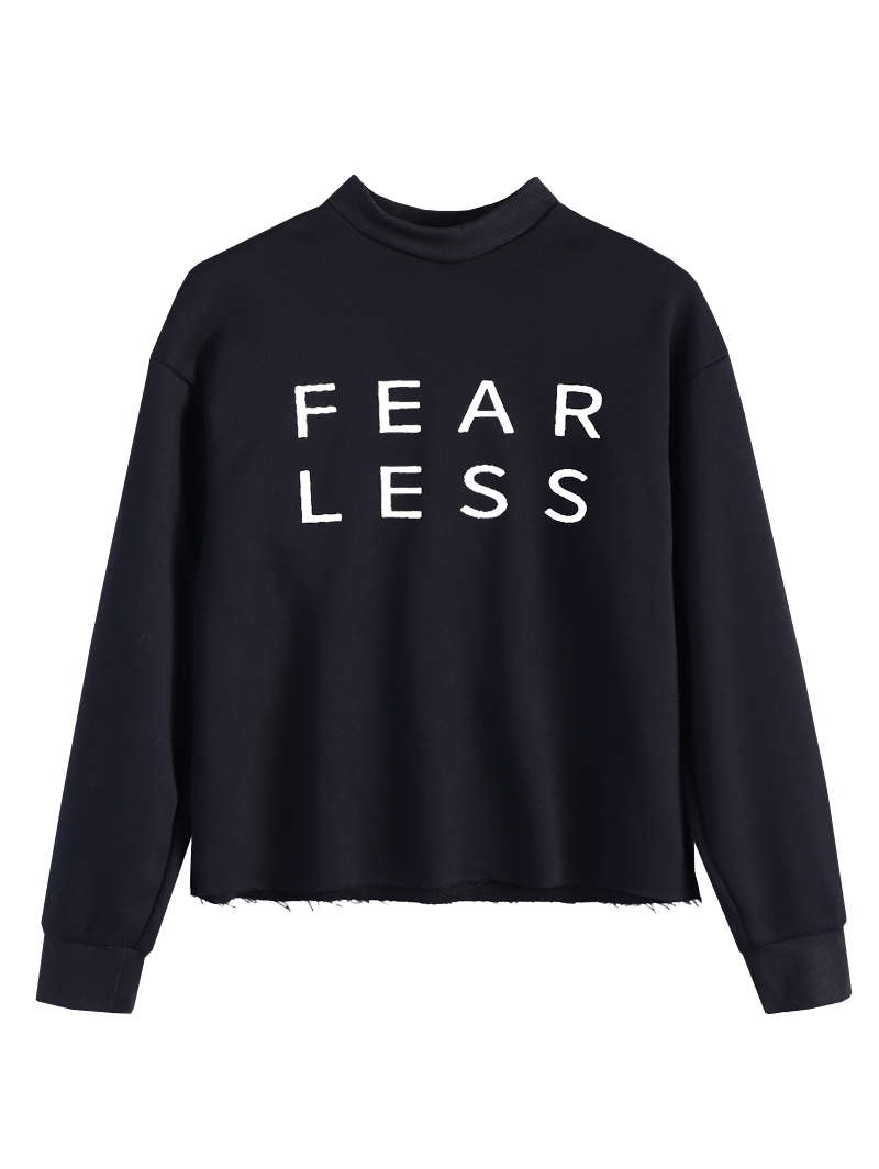 Letter Print High Neck Oversized Sweatshirt