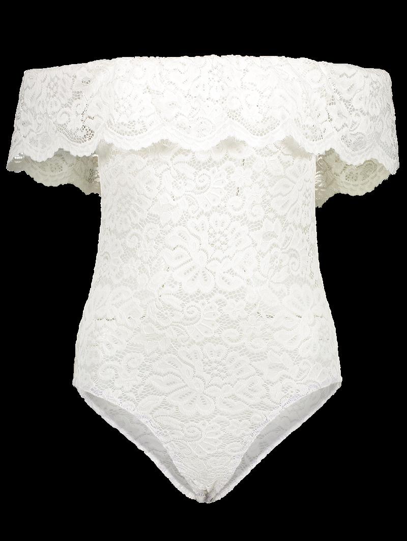 Off Shoulder Ruffles Lace Bodysuit