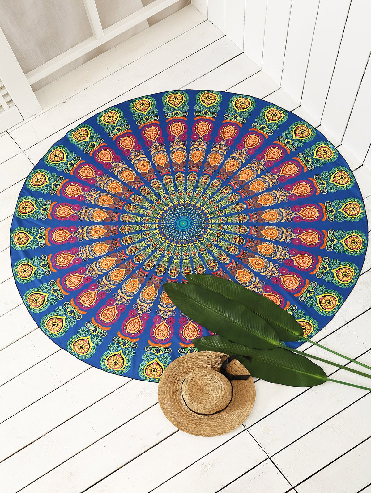 Indian Round Peacock Sarong Beach Throw