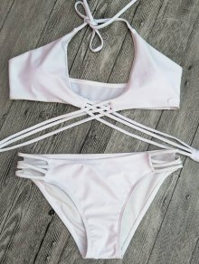 Strappy Cutout Lace-Up Bikini Set