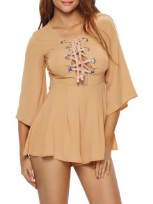 Lace Up Plunge Playsuit