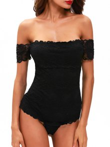 Lace Off The Shoulder Bodysuit - Black