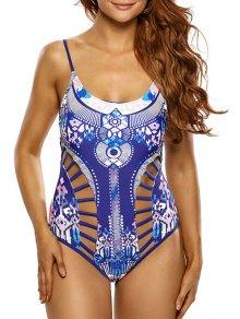 Buy Ladder Cutout Aztec Print Swimsuit - BLUE XL