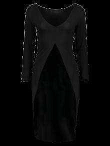 High-Low Asymmetrical Casual Dress - BLACK M