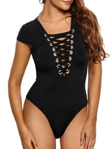 Cap Sleeve Lace Up Bodysuit - Noir