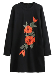 Floral Embroidered Long Sleeve Black Shift Dress