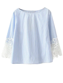 Lace Insert Striped Top Boat Neck Blouse