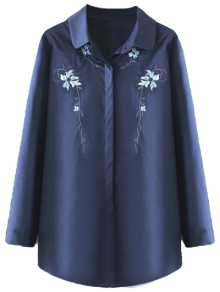 Plus Size Orchid Embroidered Shirt