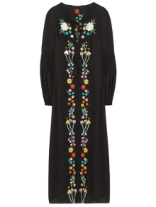 Floral Embroidered Lace Up Long Sleeve Dress - Black S