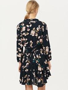 Floral Asymmetric Wrap Dress - BLACK L