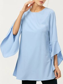 FItting Flare Sleeve Blouse - Light Blue