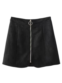 Suede Zippered Mini Skirt - Black M