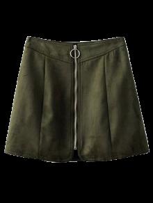 Suede Zippered Mini Skirt