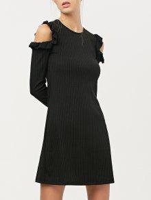 Long Sleeve Cold Shoulder A-Line Dress
