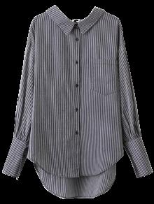 V Back Button Up Striped Shirt - Stripe