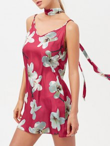 Floral Mini Dress With Silk Choker