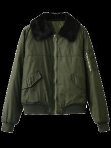 Fur Collar Padded Cargo Bomber Jacket