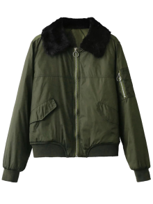 Fur Collar Padded Cargo Bomber Jacket