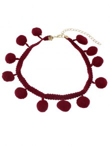 Pom Pom Braided Choker - Red