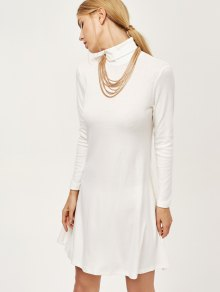 Turtle Neck Mini Swing Dress - White 2xl