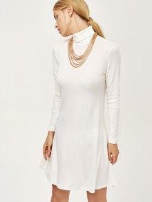 Vestido Del Oscilación De Cuello Mini - Blanco