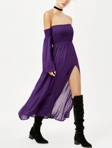 Off Shoulder High Slit Shirred Maxi Dress - Purple M