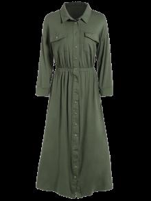 Robe En Style De Chemisier Au Longueur à Jambe Et Avec Boutons Au Front Et Poches - Vert Armée L