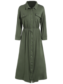 Midi Shirt Military Dress With Pockets - Army Green M