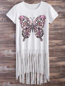 Butterfly Print Fringe T-Shirt