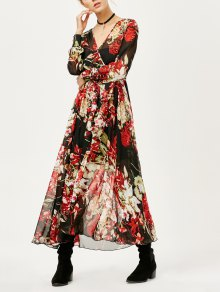Floral See Thru Surplice Maxi Dress