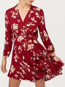 Floral Asymmetric Wrap Dress - Red L