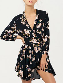 Floral Asymmetric Wrap Dress - Black