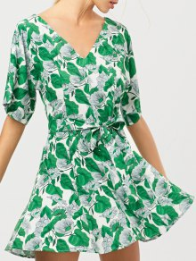 Leaves Print Belted A-Line Dress
