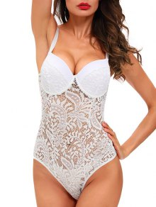 Sheer Lace Underwire Teddy