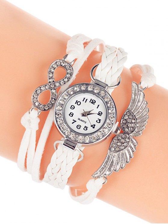 Layered Braided Quartz Bracelet Watch - WHITE  Mobile