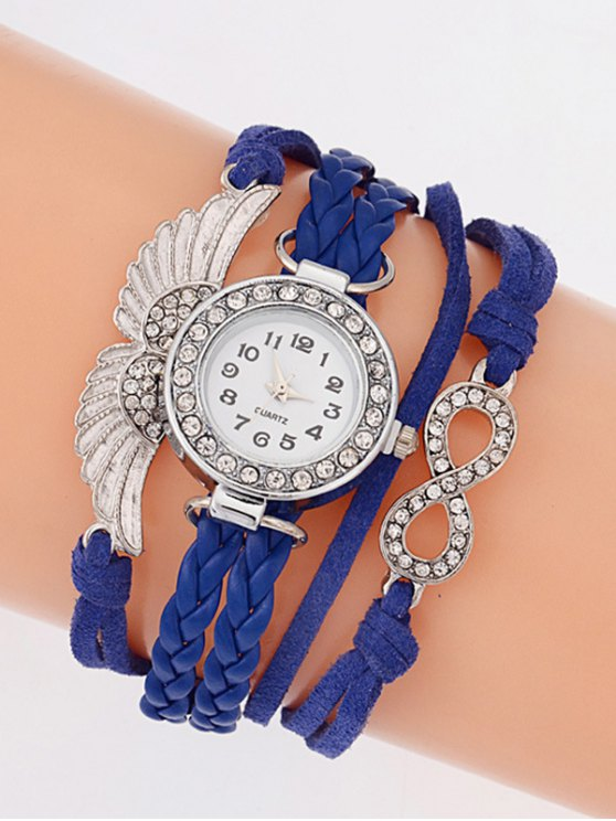 Layered Braided Quartz Bracelet Watch - BLUE  Mobile