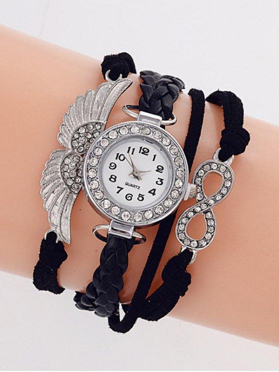 Layered Braided Quartz Bracelet Watch -   Mobile