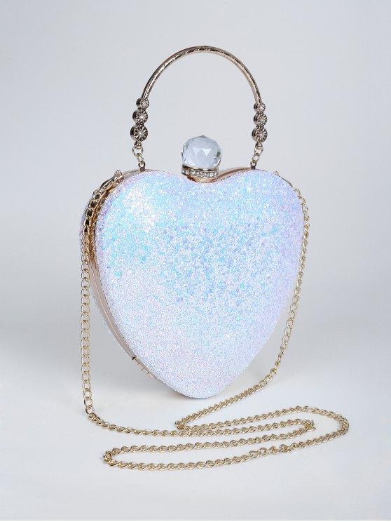 Metal Handle Heart Shape Rhinestones Evening Bag - BLUE  Mobile