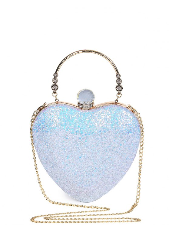 unique Metal Handle Heart Shape Rhinestones Evening Bag - BLUE